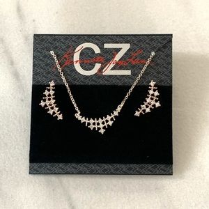 CZ by Kenneth Jay Lane Mesh Necklace & Crawler Set